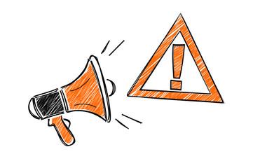 danger attention mégaphone Wall mural