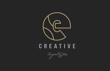 black and yellow gold alphabet letter e logo company icon design