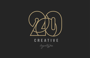 black and yellow gold number 20 logo company icon design
