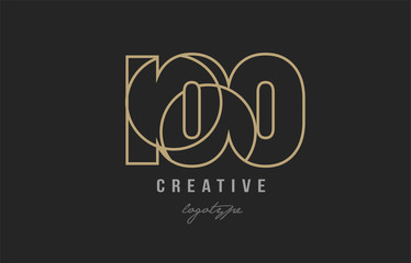 black and yellow gold number 100 logo company icon design