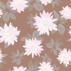 Watercolor seamless pattern of chrysanthemum flowers.
