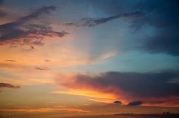 Beautiful pink-orange sunset of the summer sun. Unusual sunset.