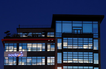 The logo of French food services and facilities management group Sodexo is seen at the company headquarters in Issy-les-Moulineaux near Paris