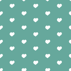 Vector seamless pattern for Valentine's Day. Cute hand drawn hearts on blue background