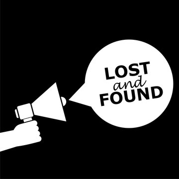 Lost And Found icon or logo on dark background