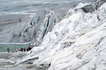 climate change, rhone glacier protected with cloths, switzerland