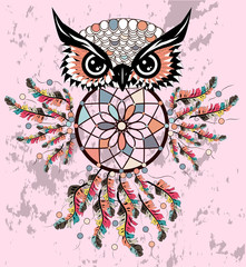 Dreamcatcher owl boho style cartoon character abstract bohemian object feathers