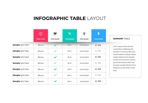 Infographic Table Layout with Multicolored Squares