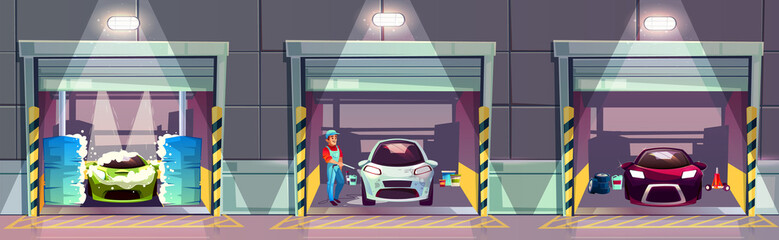 Papiers peints Cartoon voitures Car wash service station cartoon vector illustration. Happy smiling worker washing and cleaning dirty automobiles with high pressure water gun and roll-over brushes, clean auto waiting owner in garage