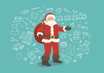 Santa Claus with doodles of toys on background.