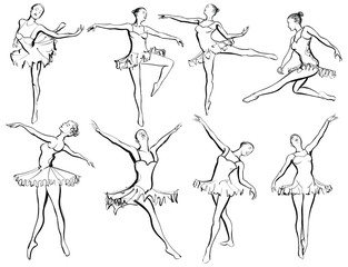 Poster de jardin Art Studio Classical ballet woman-dancers