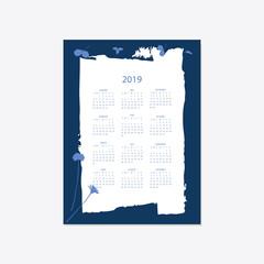 2019 flower decorative elegant calendar style cyanotype blue