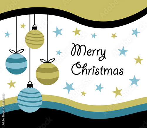 Merry Christmas Happy New Year Greeting Card Design With Four
