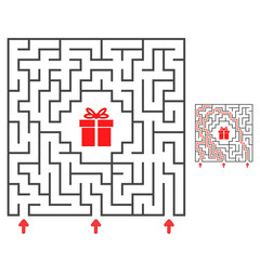 Abstract square maze. Find the path to the gift. Game for kids. Puzzle for children. Labyrinth conundrum. Flat vector illustration isolated on white background. With answer.