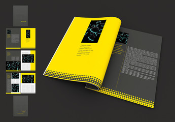 Yellow and Gray Brochure Layout with Dot Pattern
