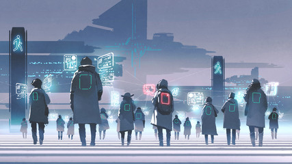 futuristic concept showing crowd of people walking on city street, digital art style, illustration painting