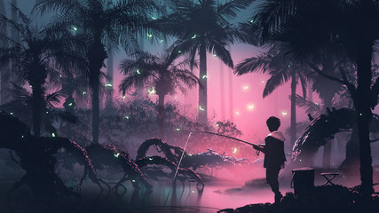 boy fishing on the swamp in tropical forest with glowing butterflies, digital art style, illustration painting