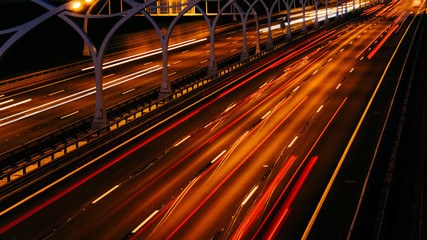 Time lapse evening highway. Blurry cars on long exposure Fotomurales