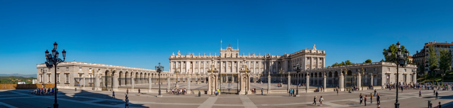 Panorama of the facade of the Royal Palace (Palacio Real) one of the most important monuments of Madrid, Spain