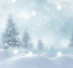 Merry Christmas and happy New Year greeting card with copy-space.Christmas background.Winter landscape with snow