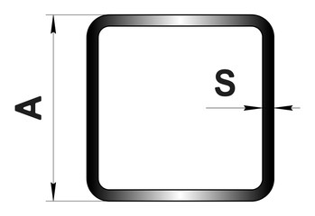 Technical drawing rolled metal. Steel square tube profile. Image for web site. Illustration.