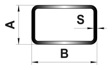 Technical drawing rolled metal. Steel rectangular tube profile. Image for web site. Illustration.