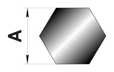 Technical drawing rolled metal. Steel hex profile. Image for web site. Illustration.