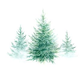 Christmas trees.Watercolor illustration.