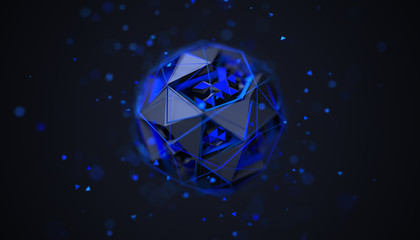 Abstract 3d rendering of polygonal sphere. Geometric shape, futuristic modern background design