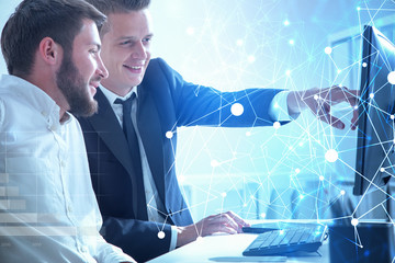 Fotobehang - Business partners working together, network