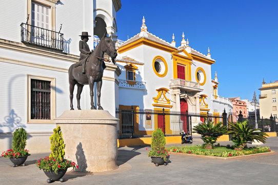 Plaza de Toros de la Real Maestranza de Caballeria de Sevilla, the Baroque facade of the bullring, Spain, Andalusia.