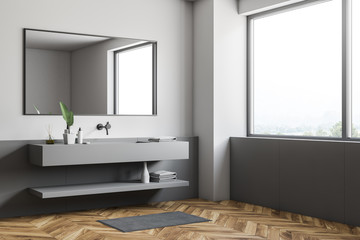 Loft white and gray bathroom, gray sink