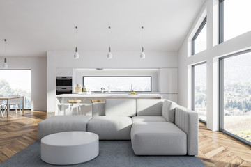 White living room and kitchen interior
