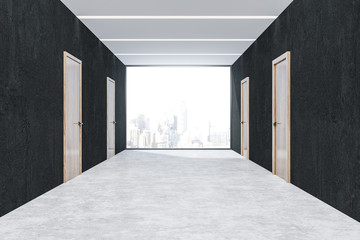 Black office corridor with wooden doors