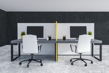 Yellow and white office tables front view