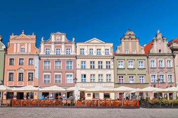 Houses, hotels,restaurants and cafes in old town square, Stary Rynek, in the Polish city of Poznan, Poland. Wall mural