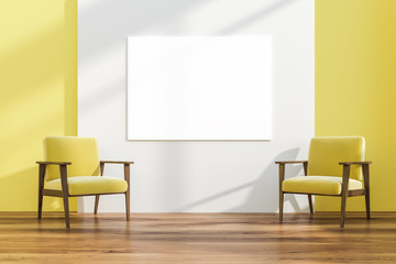 Two armchairs in white and yellow room, poster