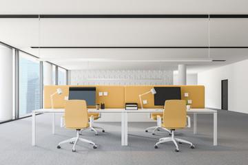 Yellow chairs loft office interior