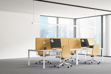 Panoramic white and yellow office corner