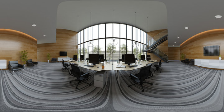 Spherical 360 panorama projection Interior open space office 3D illustration