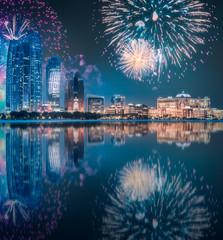 Beautiful fireworks above Abu Dhabi Skyline at night, UAE
