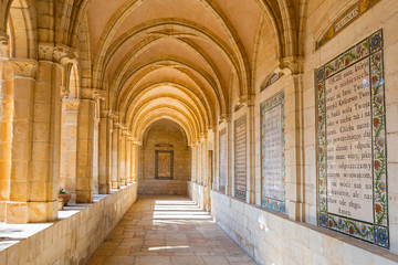 Lord's Prayer in Internal passageway of church of the Pater Noster, Jerusalem, Israel.
