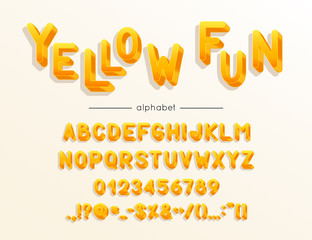 Vector Yellow Fun font and alphabet. Type with colorful letters, numerals and symbols