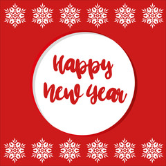 Happy New Year 2019 hand-lettering text on red background 3
