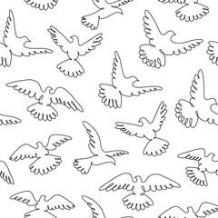 Pigeons fly. Line drawing. A flock of flying birds. Seamless pattern.
