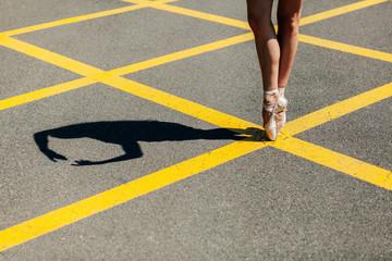 Crop ballerina in dancing shoes