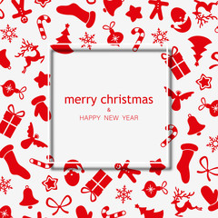 Merry Christmas and Happy New Year greeting card with red holiday pattern.