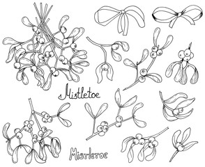 Set of Watercolor Christmas Mistletoe and Bows Isolated on White Background.