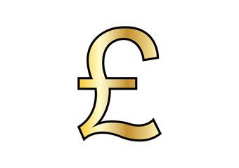 golden pound symbol on white background