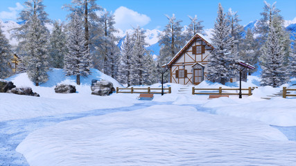 Cozy snow covered half-timbered rural house among snow covered fir trees high in snowy alpine mountains at frosty winter day. With no people 3D illustration.